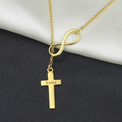 Brilliant 18K Gold Plated Infinity Symbol Cross Name Necklace