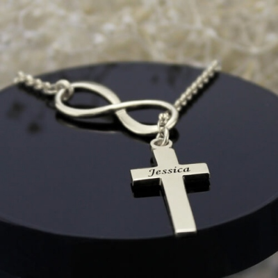 Sterling Silver Classy Infinity Cross Name Necklace