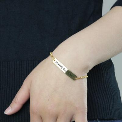 Attractive Engraved Name 18k Gold Plated Bar Bracelet