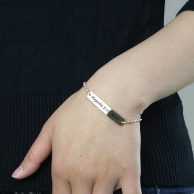 Classical Sterling Silver For Her Engraved Name Bar Bracelet