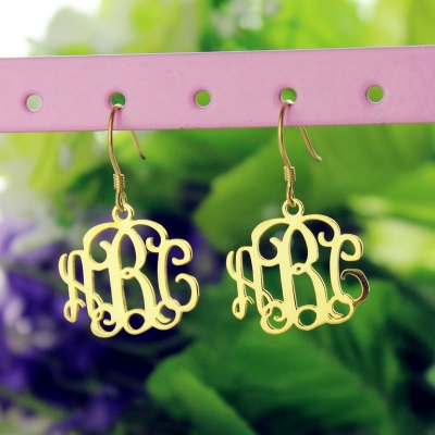 Gorgeous 18K Gold Plated Monogram Earrings