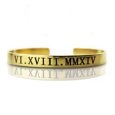 Sumptuous Personalized Roman 18K Gold Plated Numeral Bracelet