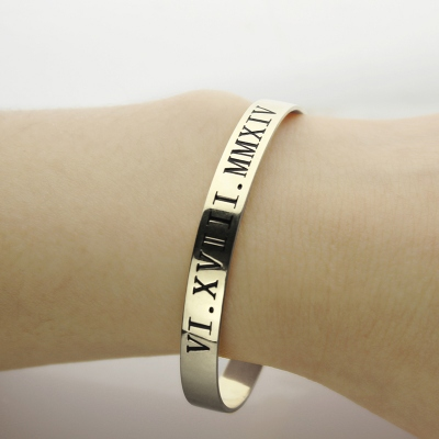 Costly Sterling Silver Personalized Roman Numeral Date Cuff Bangle