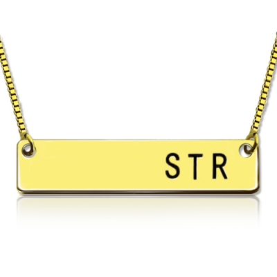 18K Gold Plated Striking Personalized Initial Bar Necklace