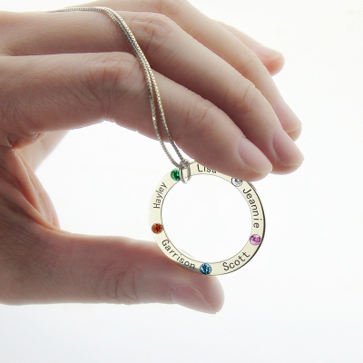 Lovely Silver Circle with 5 Names & Birthstones Family Necklace