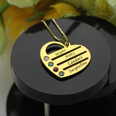 Fashionable 18k Gold Plated Mothers Birthstone Heart Engraved Names Necklace