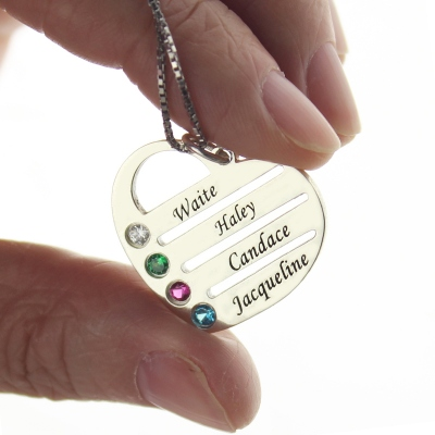 Unique Personalized Mother's Heart with 4 Birthstones & Names Necklace