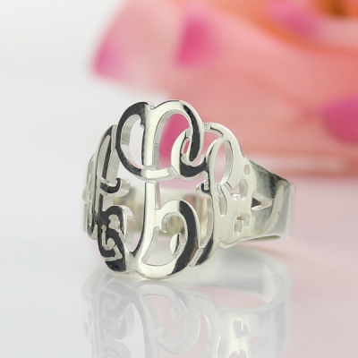 Delicate Personalized Hand Drawing Silver Monogrammed Ring