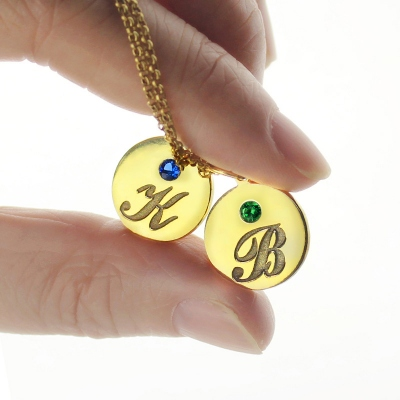 Fine 18k Gold Plated Engraved Initial & Birthstone Disc Charm Necklace