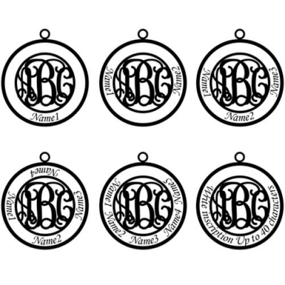 Sterling Silver Magnificent Circle Family Monogram 4 Names Necklace