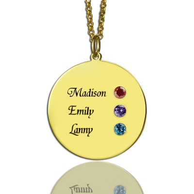 Cute Custom Engraved 3 Names For Mom Disc Necklace