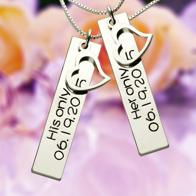 Graceful Personalized with Name & Date Silver Couple Bar Necklace
