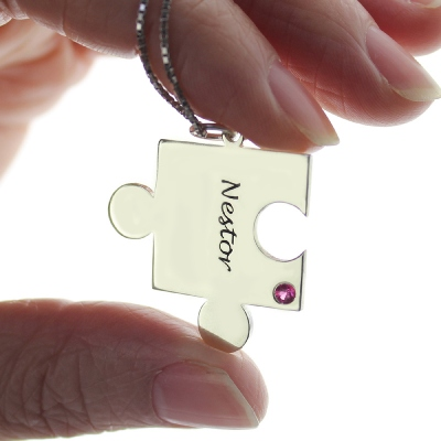Breathtaking Silver Engraved Puzzle Love for Couples Name Necklace
