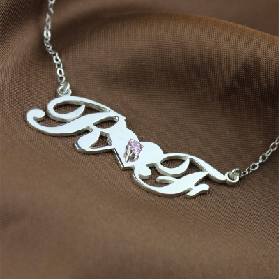 Attractive Sterling Silver Birthstone Double Initials Lovers Necklace