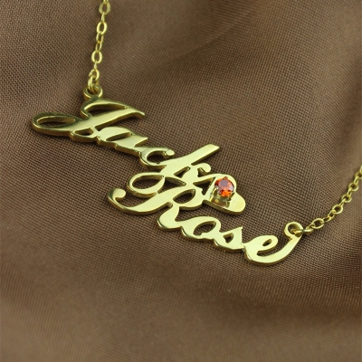 Gold Classic Double Nameplate Carrie Style Lovers Name Necklace
