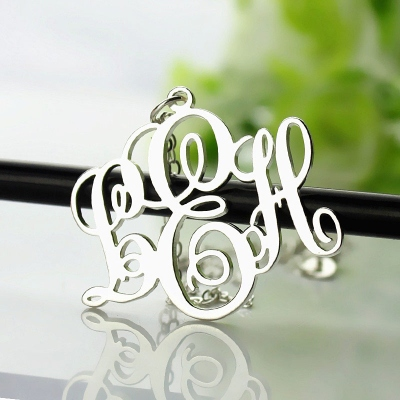 Sterling Silver Personalized Stunning Vine Font Initial Monogram Necklace