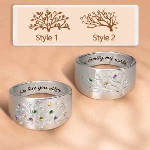 Gift for Mother Personalized Family Tree Ring with 1-20 Birthstones