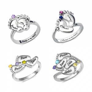 Engraved Baby Feet Birthstones Ring