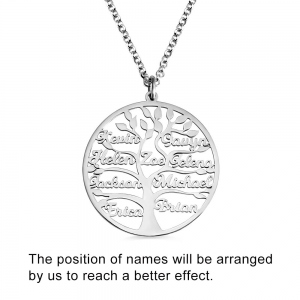 Engraved Family Tree Name Necklace Stainless Steel