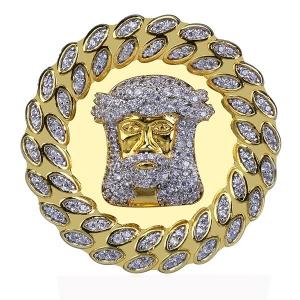 Jesus Cuban Hip Hop Ring in Gold