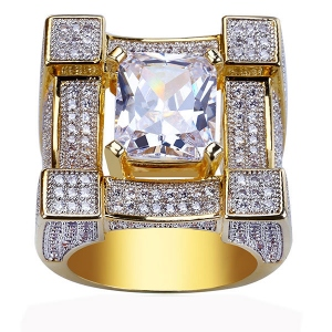 Hip Hop Cushion CZ Ring In Gold Plated Brass