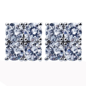 2-Row CZ Stud Earrings for Women