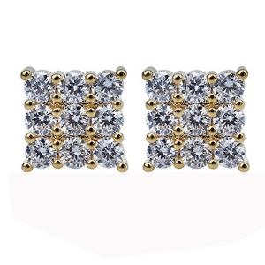 Triple-Row CZ Square Earrings