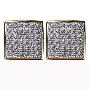 Full Iced Out Cushion Earrings In Gold Plated Brass