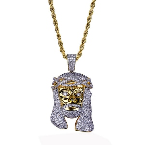 Jesus Piece CZ Hip Hop Necklace in Gold