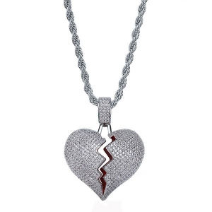 Broken Heart Hip Hop Necklace