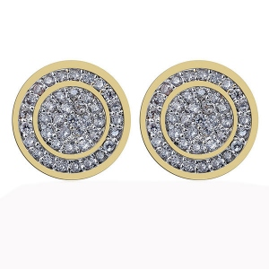 Iced Out Round Shape Hip-Hop Earrings